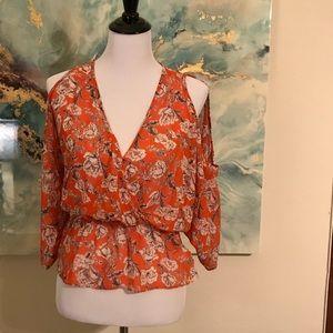 Soprano orange floral blouse size X small